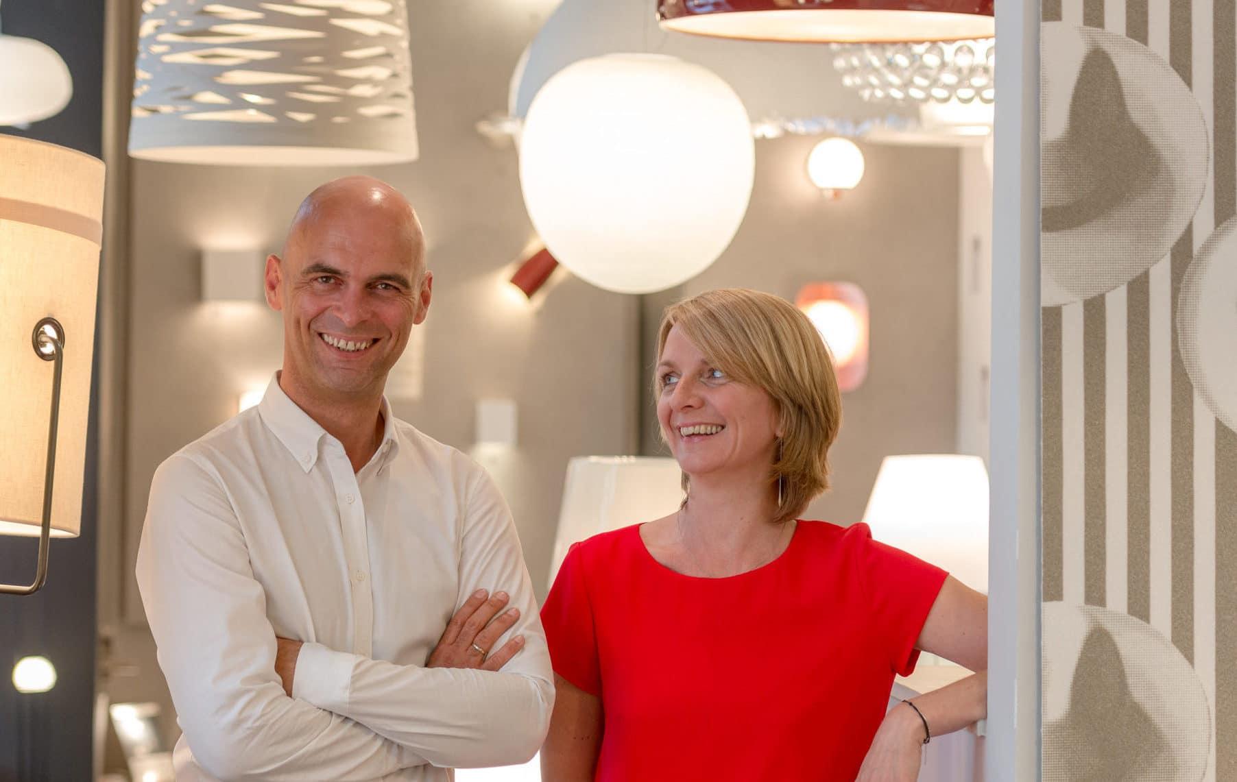 Sophie et Thomas les propriétaires de la boutique Et la lumière